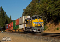 UP 8751 trailing dpu at Colfax, California on October 16, 2012